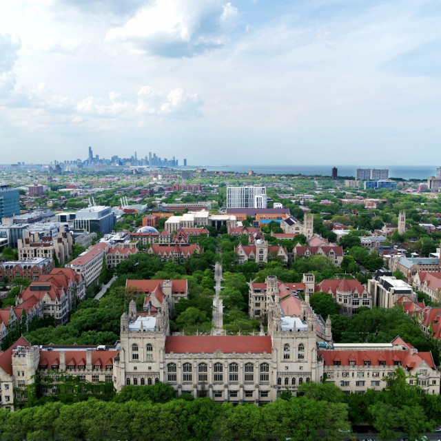 A view of the city with the College buildings in the foreground