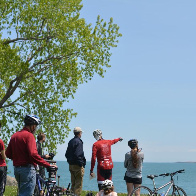 Dean Boyer and Professor Mark Hansen lead a bike tour in Southeast Chicago