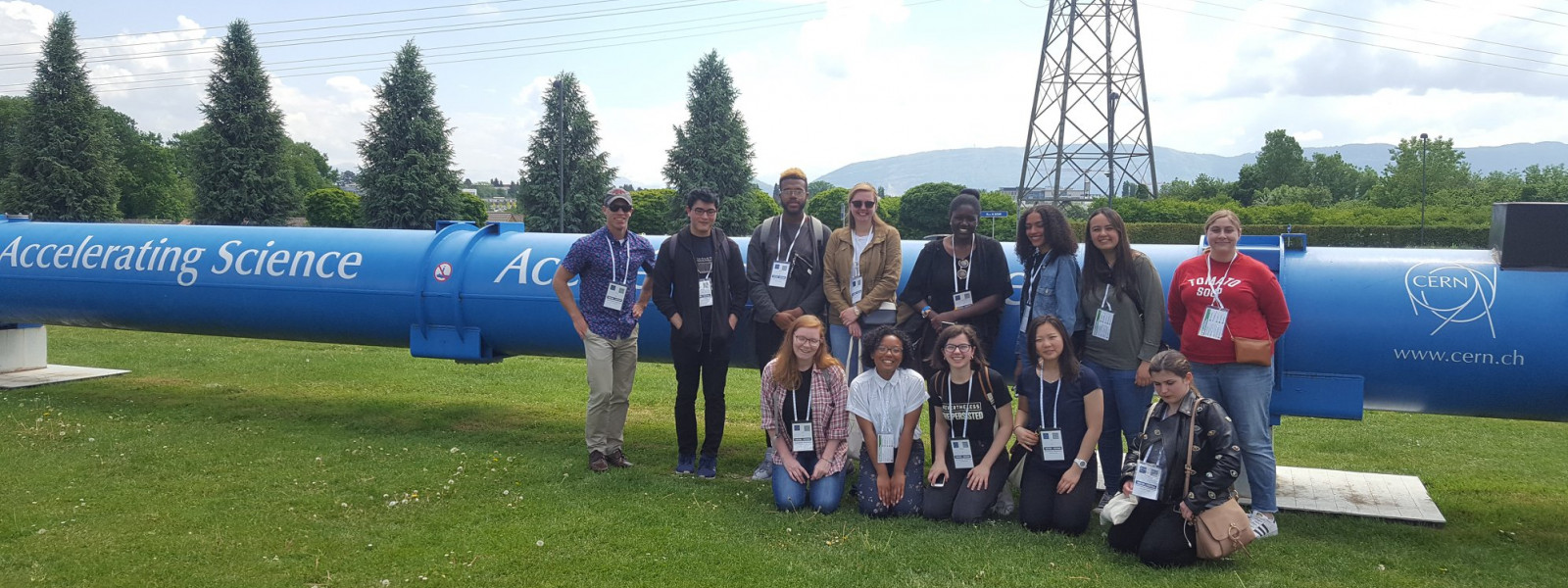The group tours CERN.