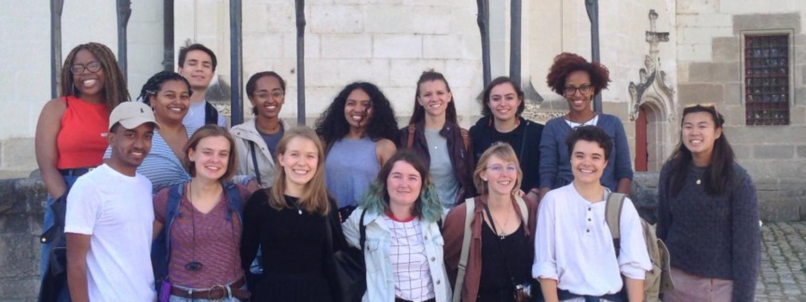 The group poses for a photo at the Château des ducs de Bretagne and Musée d'histoire de Nantes.