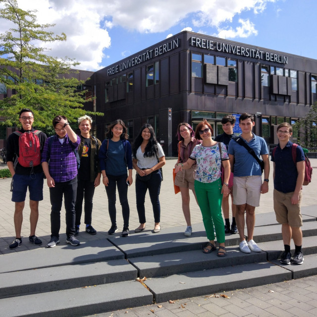 Autumn 2019 group poses for a photo in front of Freie Universität Berlin