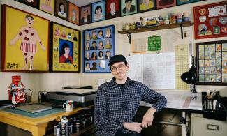 Nick Drnaso in his studio.