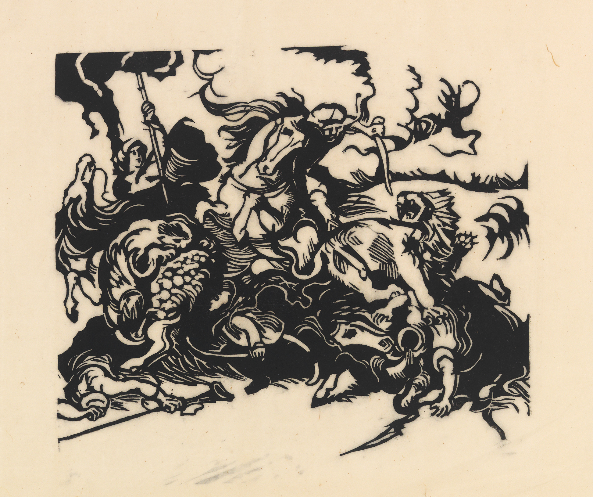 Franz MarcGerman, Lion Hunt after Delacroix (Löwenjagd nach Delacroix)