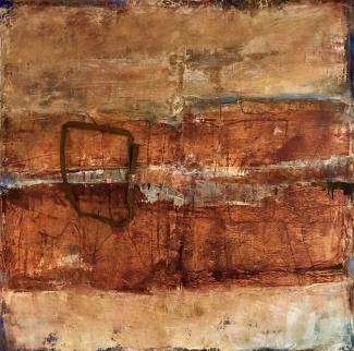 """Brigitte Riesebrodt, """"Viewfinder 1"""" (2018), oil and wax on canvas. Courtesy of the artist."""