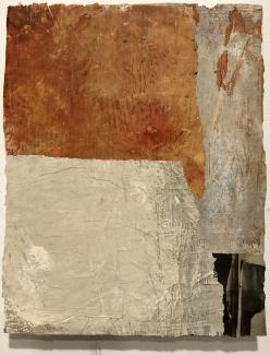 "Brigitte Riesebrodt, ""Collage 1"" (2018), oil and wax on paper and wood. Courtesy of the artist."