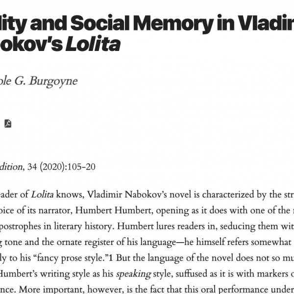 "Nicole Article, ""Oralist and Social Memory..."""