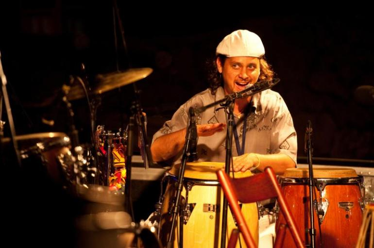 Jean-Christophe Leroy playing drums