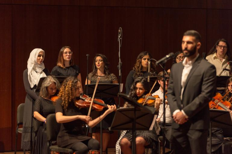 The Middle East Music Ensemble in performance in the Logan Center Performance Hall