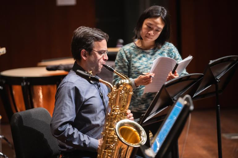 Saxophonist Taimur Sullivan and composer Tonia Ko in rehearsal for the Grossman Ensemble