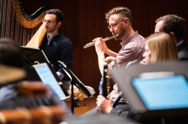 Flutist Tim Munro and harpist Ben Melsky in a rehearsal for the Grossman Ensemble