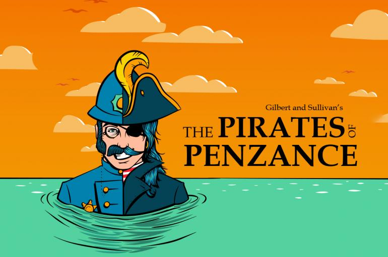 """A man dressed half as a policeman and half as a pirate stands next to the title """"The Pirates of Penzance"""""""