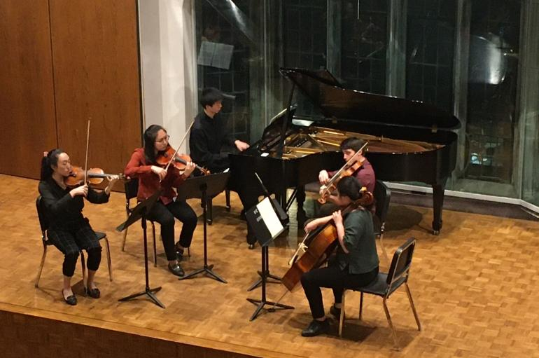 Chamber music students performing in Fulton Recital Hall