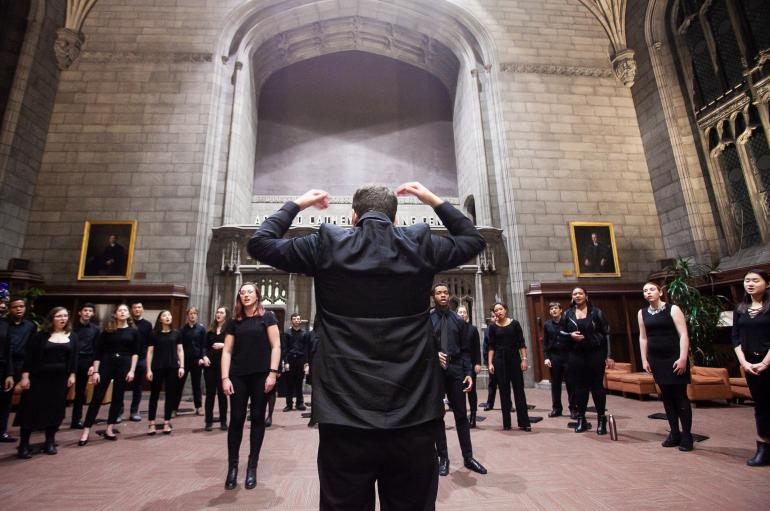 Motet Choir led by James Kallembach in Harper Memorial Library