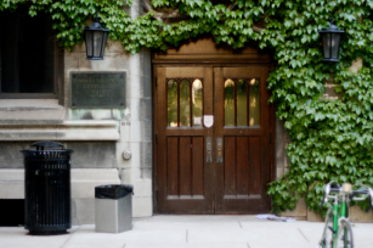 Image of the door to Goodspeed Hall at the University of Chicago