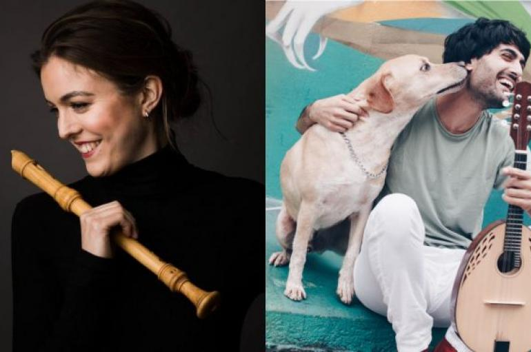 Tabea Debus on left, holding a recorder; Alon Sariel on right, holding a lute with a dog licking his face