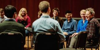 Students, Professor Augusta Read Thomas sit down with composer Philip Glass