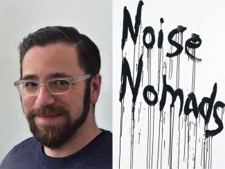 "Seth Brodsky next to cover art ""Noise Nomads"""