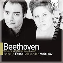 Cover art for Beethoven: Complete Violin and Piano Sonatas with Isabelle Faust and Alexander Melnikov showing Alexander Melnikov and Isabelle Faust next to each other in black and white