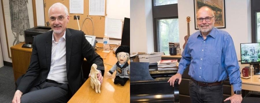 Professors Berthold Hoeckner and Larry Zbikowski featured in side-by-side photos