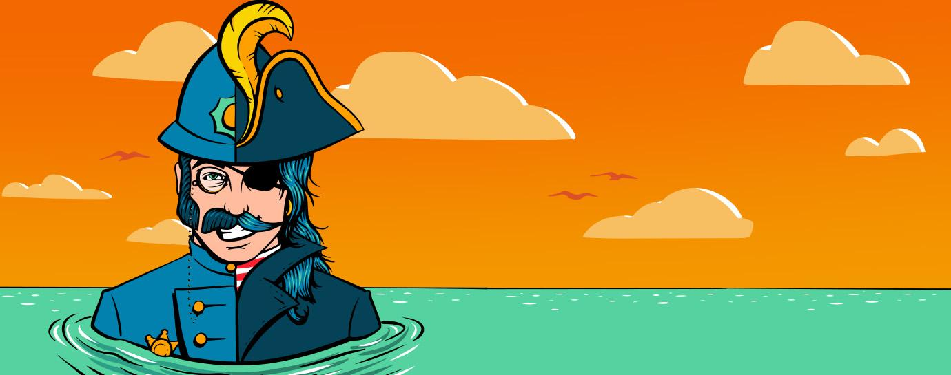 Graphic design of half-police half-pirate man up to his shoulders in murky water in front of a setting sky