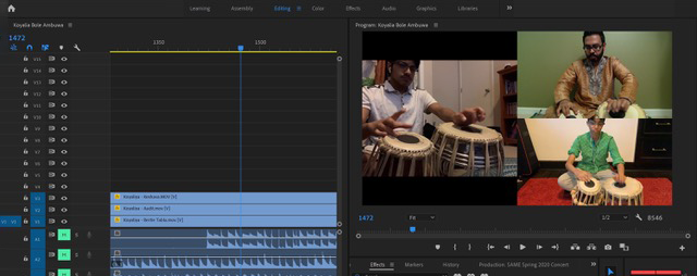 Screenshot from Adobe Premiere video project by the South Asian Music Ensemble
