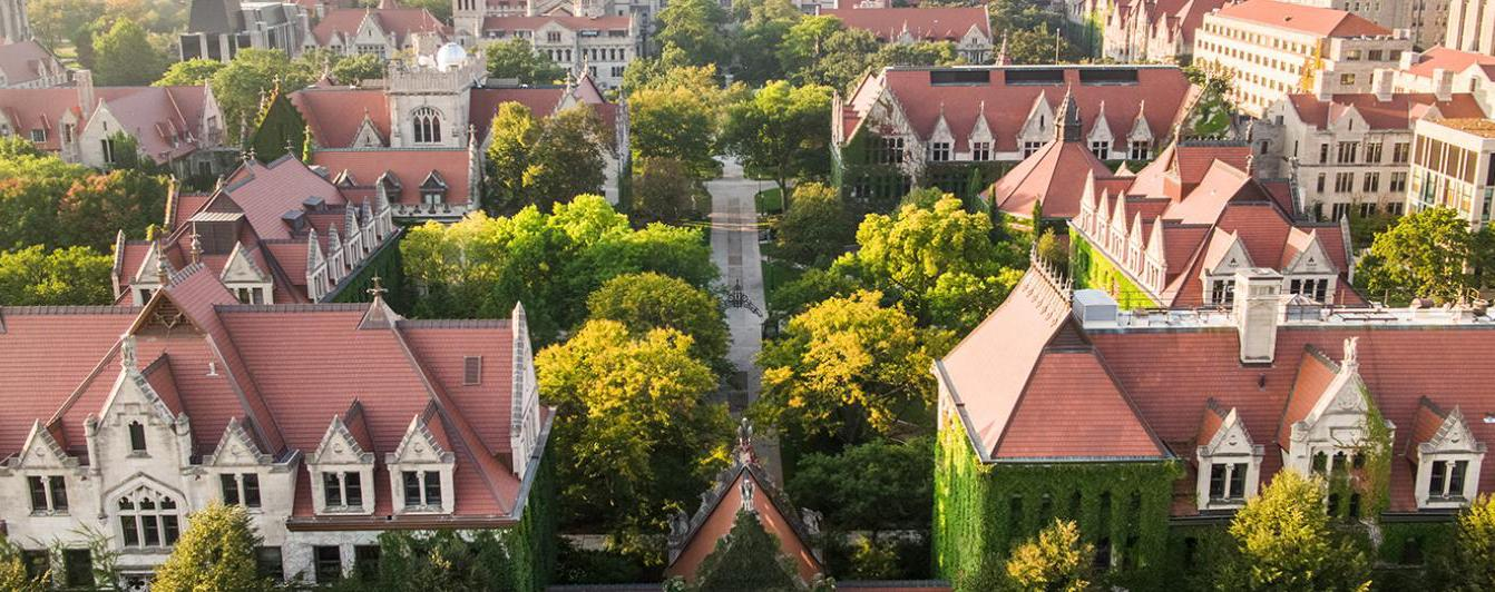 Aerial view of the University of Chicago Quad