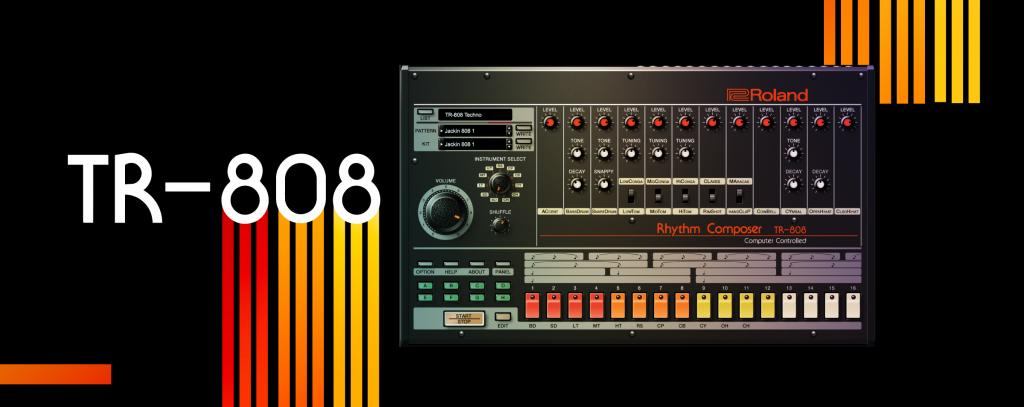 "Text reads ""TR-808"". Image is an electronic drum machine with red, orange, yellow, and white buttons and dials. The background is black with red, orange, and yellow stripes mimicking the buttons on the drum machine."
