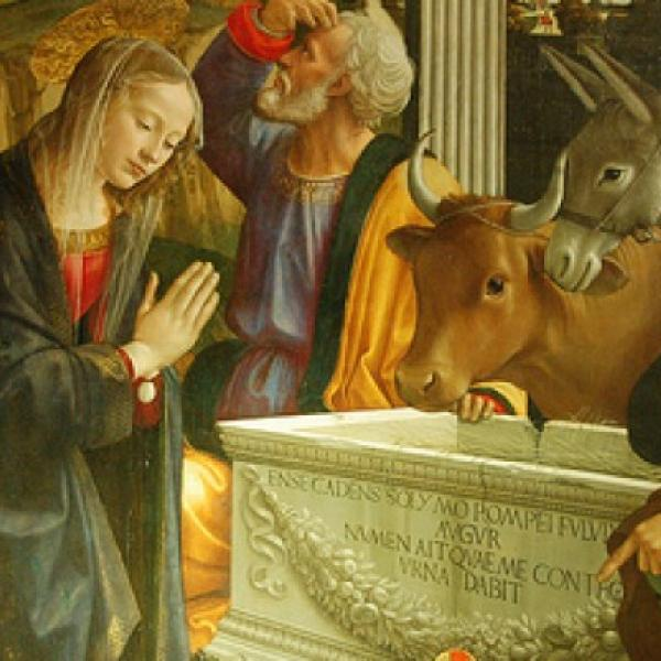A painting of a Christmas scene