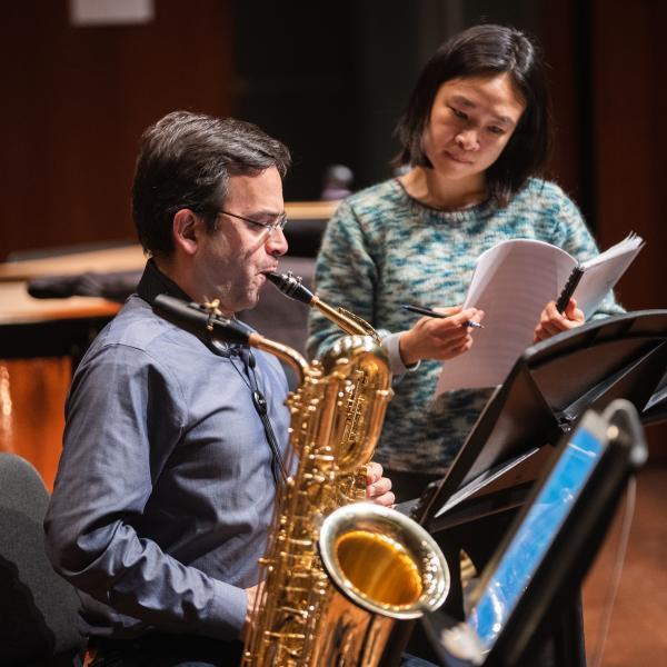 Saxophonist Taimur Sullivan and composer Tonia Ko in rehearsal for the Grossman Ensemble
