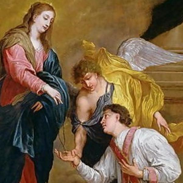 Painting titled: St. Valentine Kneeling in Supplication