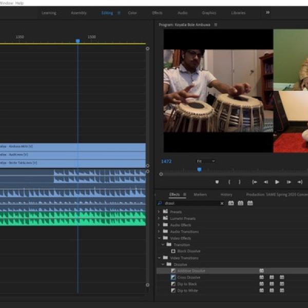 Screenshot of Adobe Premiere project by the South Asian Music Ensemble