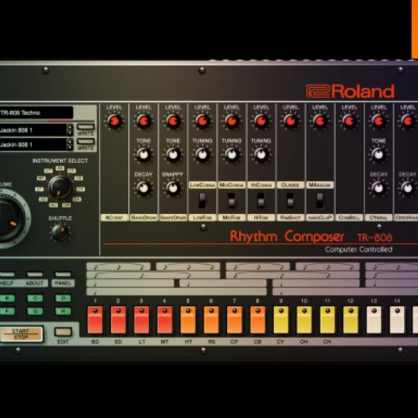 Image of the TR-808, an early drum machine with many buttons, dials, and sliders in red, orange, yellow, and white. The body of the machine is black.