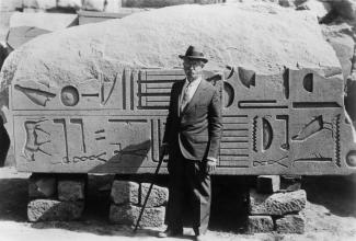 James Henry Breasted, archaeologist and director of the University of Chicago Oriental Institute (1901-1935). Dr. Breasted is at the great temple complex of Karnak in Egypt. Courtesy of University of Chicago Library, Special Collections Research Center, [apf1-02230].