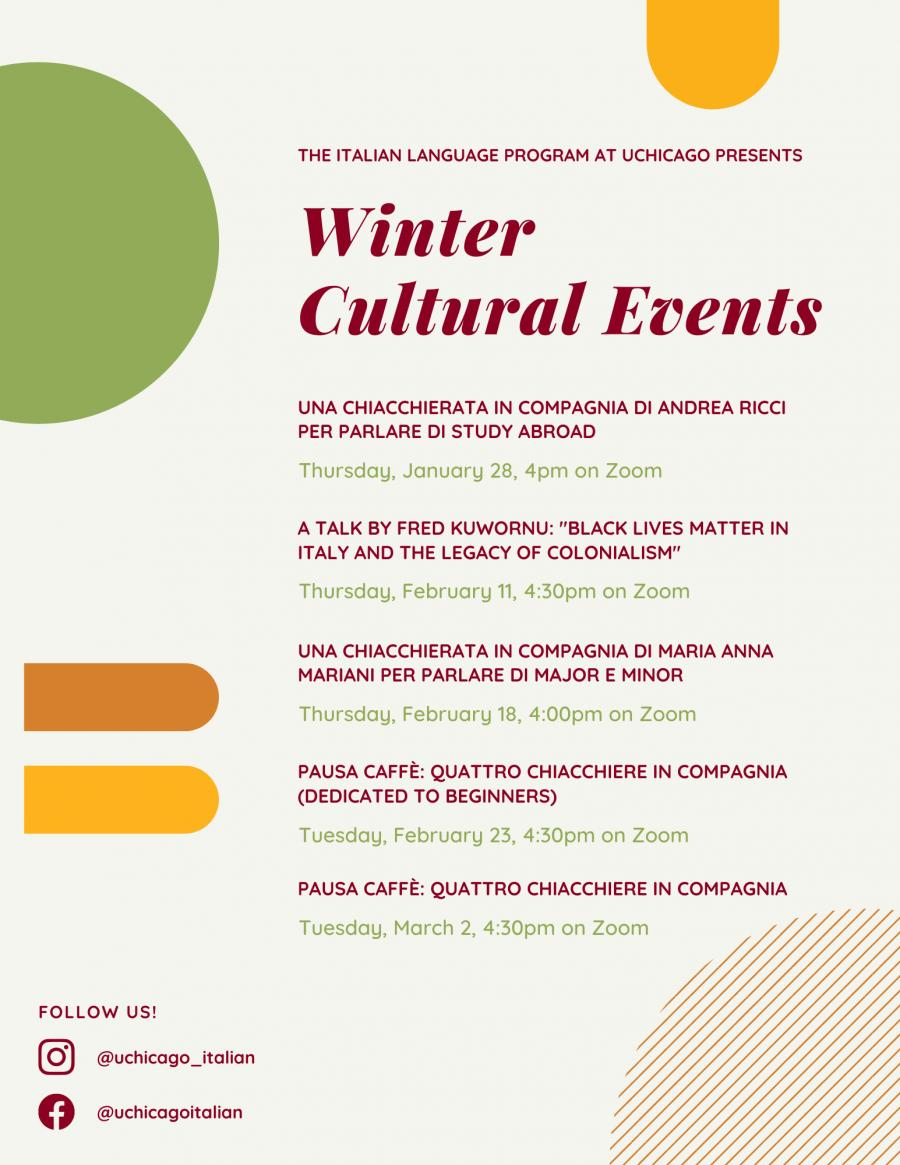 Image for Winter 2021 Italian Cultural Events