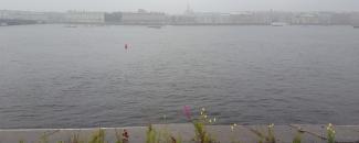 St. Petersburg, Neva River after rainstorm