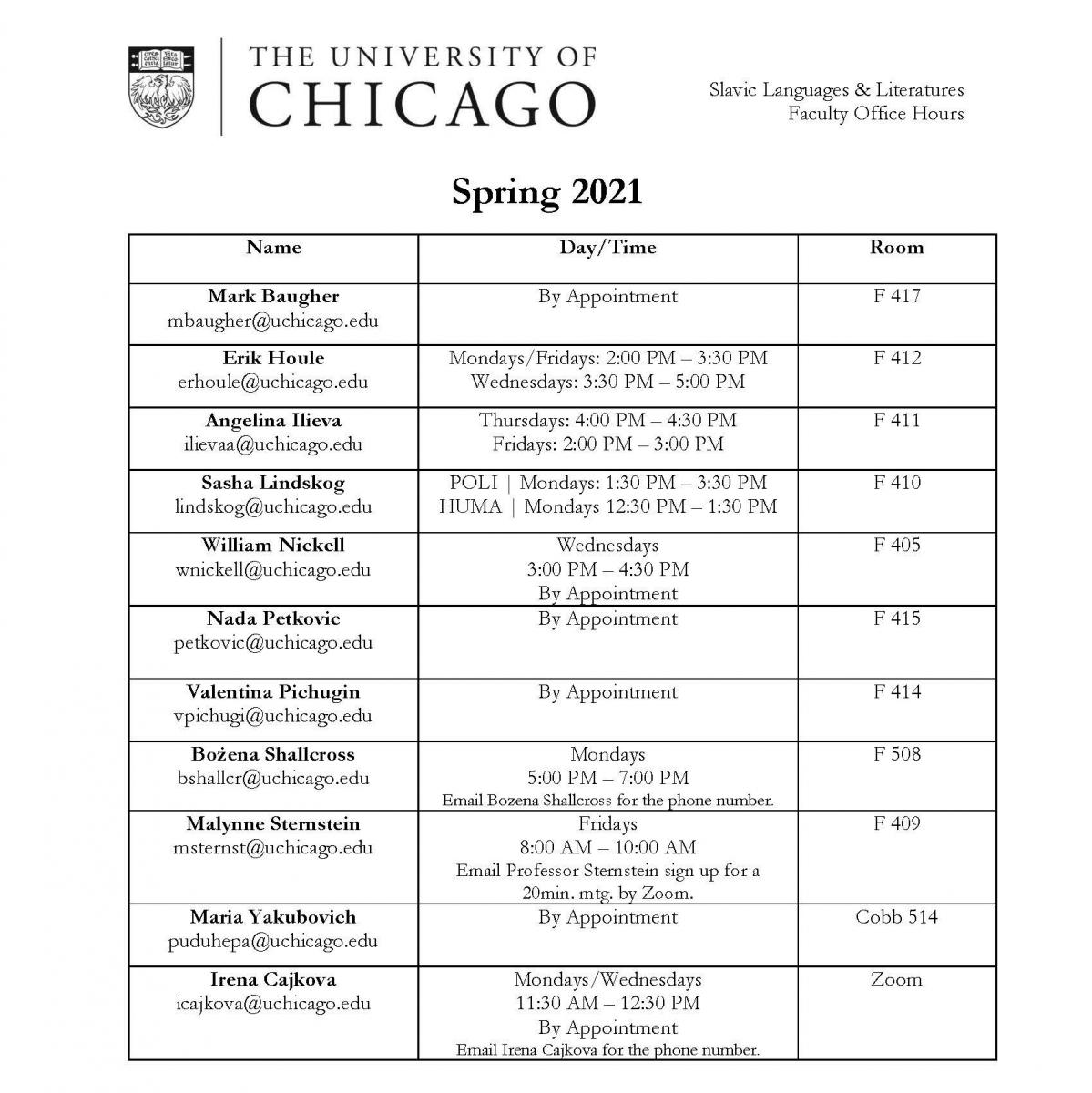 Spring 2021 Office Hours